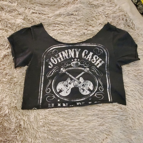 Tops - Gray Johnny Cash crop top